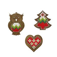 Holzanhänger zum Besticken, 3er-Set Holzanhänger zum Besticken – für Christbaum, als Geschenkanhänger und vieles mehr.