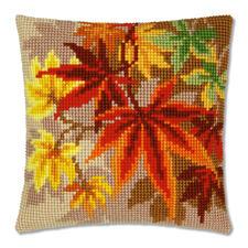 Kreuzstichkissen - Herbstblätter