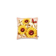 Kreuzstichkissen - Sonnenblumen mit Schmetterling
