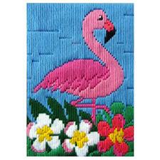 """Longstichbild """"Flamingo"""" Longstichbilder – kinderleicht und schnell gestickt."""