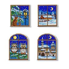 4er-Set Fensterbilder Weisse Weihnachten