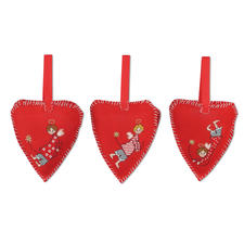 Herzen, 3 Christbaum-Anhänger im Set