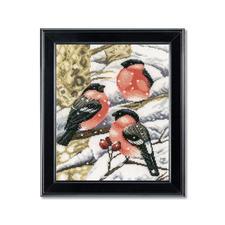 Kreuzstichbild nach Marjolein Bastin - Dompfaff Stickideen für die kalte Winterzeit