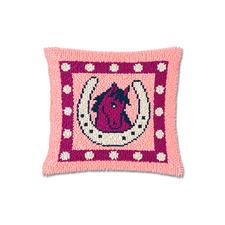 Knüpfkissen - Rosa Pferdchen Erstes Knüpfen für die ganz Kleinen.