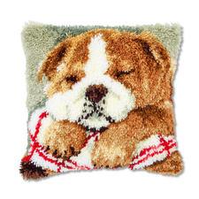 """Knüpfkissen """"Schlafender Hund 2"""" Knüpfkissen - schnell zu knüpfen, ideal für Anfänger."""