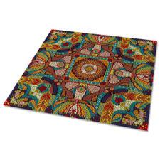 """Teppich """"Mandala 3"""" Farbenfroher Designteppich nach dem Vorbild eines klassischen Mandalas gestaltet."""