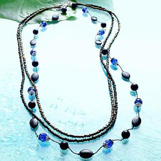 Komplettpackung - Halskette Black-Blue Kühle Frische - Blau, Türkis, Grün.