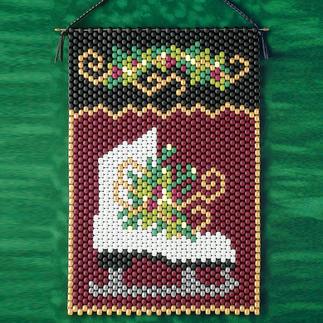 Weihnachtlicher Perlen-Wandbehang - Schlittschuh Weihnachtliche Perlen-Wandbehänge zum Basteln.