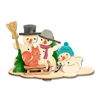 Teelichthalter aus Holz - Schneemänner Stimmungsvolle Dekorationen aus Holz