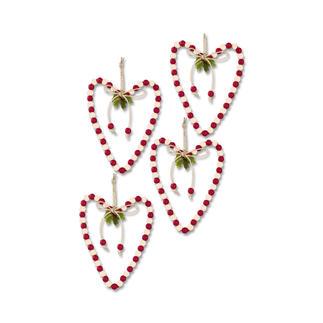 12 Folk Art Anhänger im Set Glamouröser Perlen-Weihnachtsschmuck