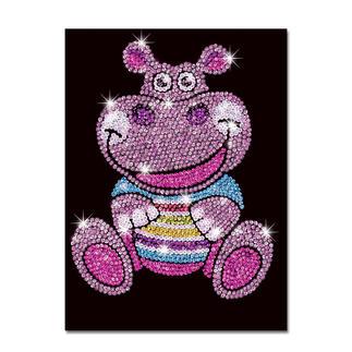 Paillettenbild für Kinder - Hippo Heidi Glitzernde Paillettenbilder – ganz einfach gesteckt