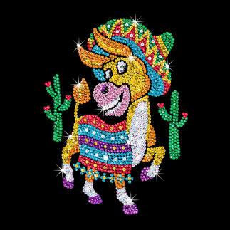 Paillettenbild für Kinder - Esel Glitzernde Paillettenbilder – ganz einfach gesteckt.