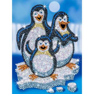 Paillettenbild für Kinder - Pinguine Glitzernde Paillettenbilder – ganz einfach gesteckt.