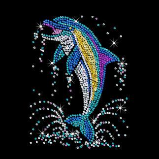 Paillettenbild für Erwachsene - Delfin Glitzernde Paillettenbilder – ganz einfach gesteckt.