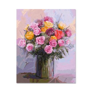 Malen nach Zahlen - Rosenstrauss in Pastell Malen nach Zahlen.