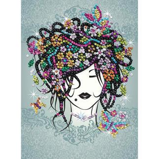 Paillettenbild für Teens - Blumenmädchen Glitzernde Paillettenbilder – ganz einfach gesteckt