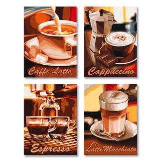 Malen nach Zahlen Quattro - Kaffee-Pause Malen nach Zahlen Quattro - 4 Bilder im Set.
