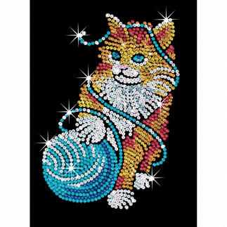 Paillettenbild für Erwachsene - Katze Paillettenbilder mit eindrucksvollen Motiven