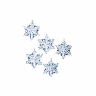 Komplettpackung - 6 Schneekristalle im Set, 9 cm Glamouröser Perlen-Weihnachtsschmuck – als Komplettpackungen zum kreativen Selbermachen.