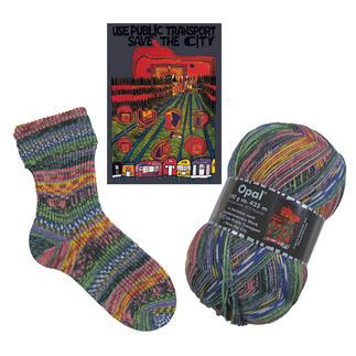 Opal Pullover- und Sockenwolle, 4-fädig, in Variation nach Hundertwasser-Werken