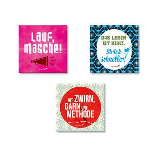 Strickimicki Magnete, 3-er Set Witzig-freche Sprüche für Strickfans und Nähverrückte.