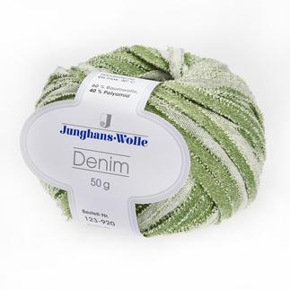 Denim von Junghans-Wolle Geschnittenes Denim-Bändchen, so cool wie Ihre Blue-Jeans.