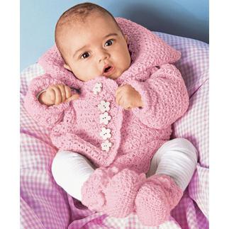 Anleitung 477/0, Babyjacke und Schühchen mit Häkelrändern aus Micro von Junghans-Wolle Anleitung 477/0, Gestrickte Babyjacke und Schühchen mit Häkelrändern aus Micro von Junghans-Wolle