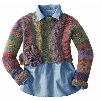 Anleitung 266/4, Pullover mit Häkelblume aus Scala von Junghans-Wolle