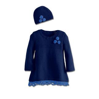 Anleitung 338/3, Kinderkleid mit angehäkelter Spitze und Mütze aus Merino-Classic und Merino-Supersoft von Junghans-Wolle