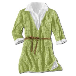 Anleitung 412/3, Damenpullover, leicht ausgestellt mit seitlichen Schlitzen aus Contrato von Junghans-Wolle