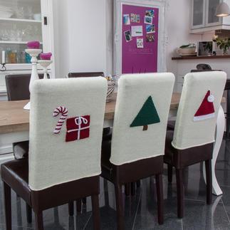 Anleitung 817/3, glatt rechts gestrickte Stuhlhussen mit separat gehäkelten Weihnachtlichen Motiven