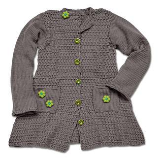 Anleitung 160/5, Kindermantel, gehäkelt und gestrickt mit Schal aus Merino-Cotton von Junghans-Wolle