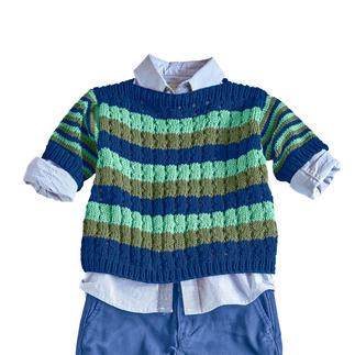 Anleitung 008/0, Kinder-Pulli aus Cotone-Emozione von Junghans-Wolle