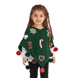 Anleitung 468/1, Kinder-Poncho aus Poco von Junghans-Wolle Anleitung 468/1, Kinder-Poncho mit weihnachtlichen Applikationen aus Poco von Junghans-Wolle