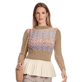 Anleitung 115/1, Pullover mit Schösschen aus Monello-90 Uni und Monello-90 Color von Junghans-Wolle