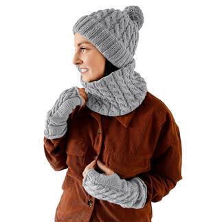 Anleitung 388/1, Mütze, Loop und Armstulpen aus Charity von Woolly Hugs