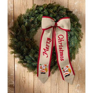 Weihnachts-Türschleifen Geflammte Leinenoptik mit roter Paspel.