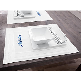 Tischwäsche mit eingewebtem Zierrand - Zwiebelmuster