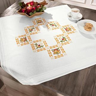 Tischwäsche mit eingewebtem Zierrand - Weihnachtsbilder