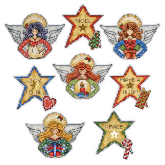 8 Engel und Sterne im Set Weihnachtsbaumanhänger - Engel & Sterne