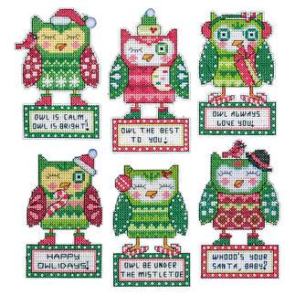 Christbaumschmuck - 6 Eulen Tierische Weihnachten.