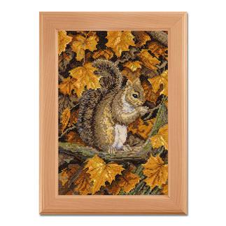 Kreuzstichbild - Herbstblätter