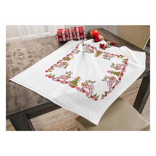 Tischwäsche mit eingewebtem Zierrand - Herzchen