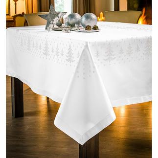 Kreuzstich-Tischdecken - Tannenbäume Kreuzstich-Tischwäsche mit Tannenbaumbordüre