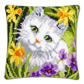 Kreuzstichkissen - Weisse Katze Tierisch gut – Alles rund um die Katze.