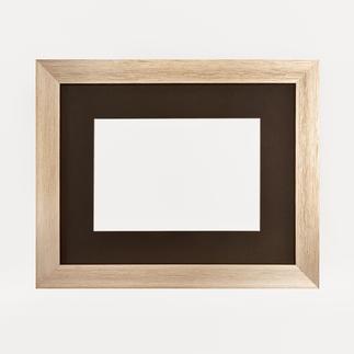 Bilderrahmen, blass-goldfarben mit Passepartout, Ausschnitt 18 x 27 cm Bilderrahmen, blass-goldfarben mit schwarzem Passepartout