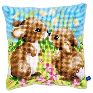 Kreuzstichkissen - 2 kleine Kaninchen
