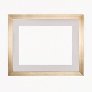 Bilderrahmen, blass-goldfarben mit Passepartout, Ausschnitt 33 x 44 cm Bilderrahmen, blass-goldfarben mit weissem Passepartout