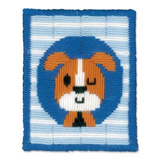 Stickbild - Zwinkernder Hund Stickspass für Kinder