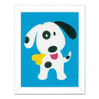 Stickbild - Lustiger Hund Stickspass für Kinder